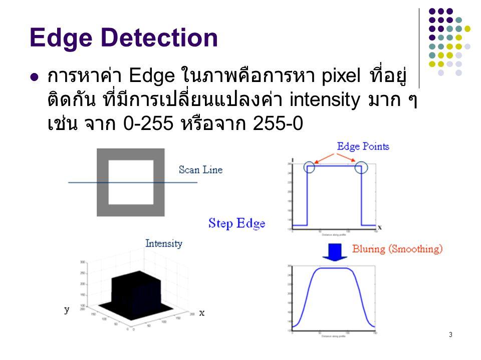 Edge Detection การหาค่า Edge ในภาพคือการหา pixel ที่อยู่ติดกัน ที่มีการเปลี่ยนแปลงค่า intensity มาก ๆ เช่น จาก 0-255 หรือจาก 255-0.