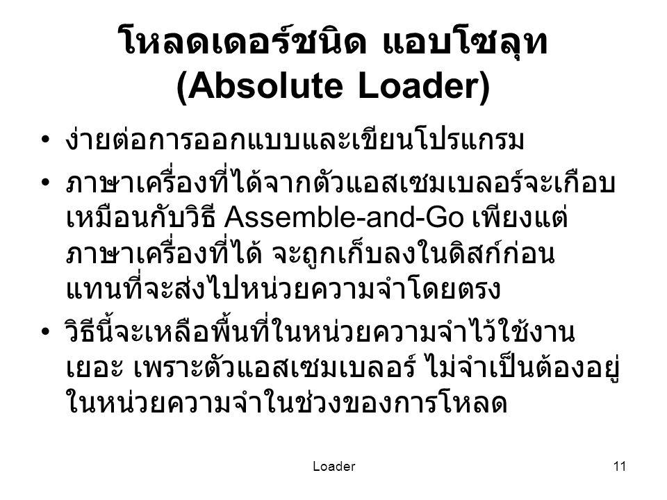 โหลดเดอร์ชนิด แอบโซลุท (Absolute Loader)
