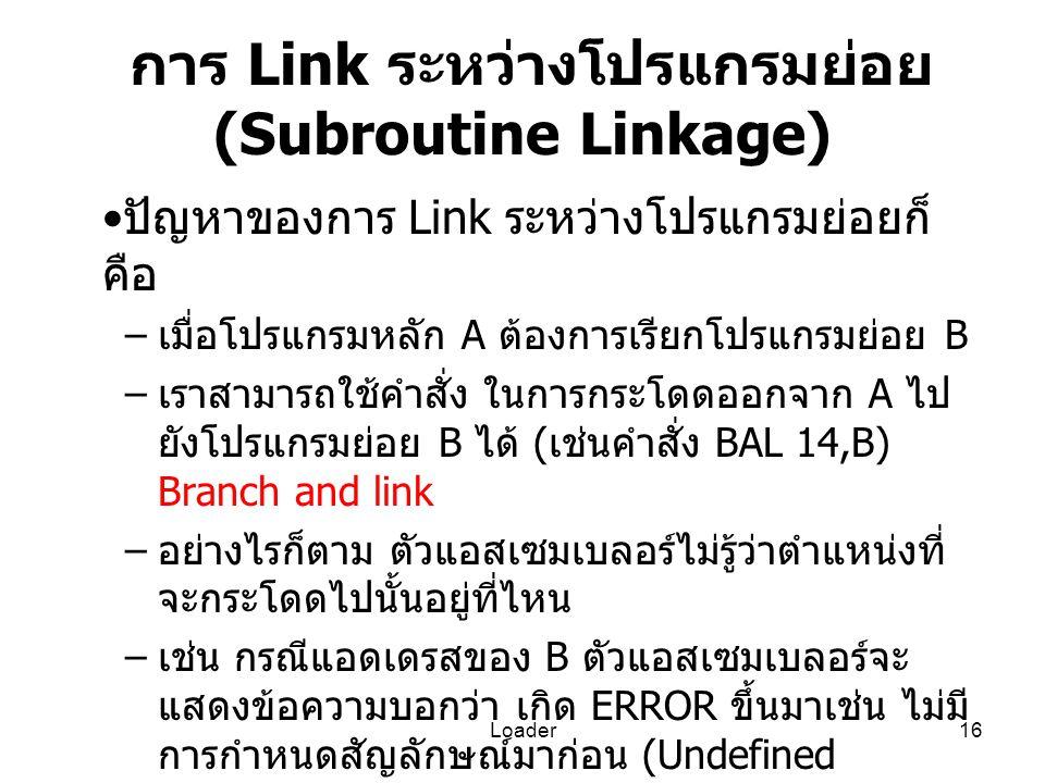 การ Link ระหว่างโปรแกรมย่อย (Subroutine Linkage)
