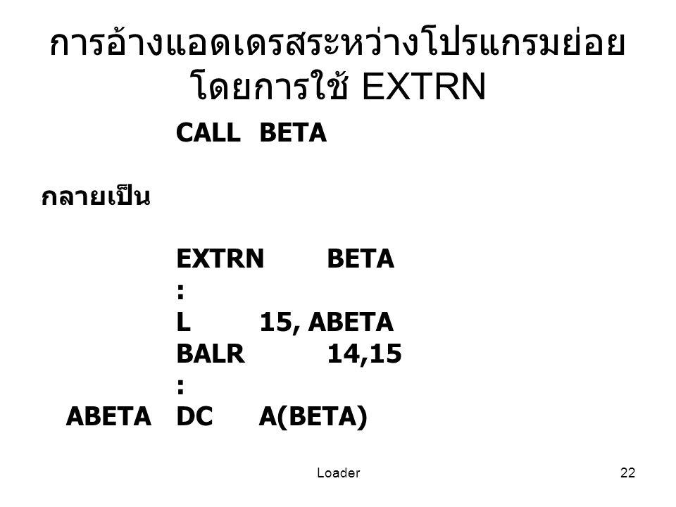 การอ้างแอดเดรสระหว่างโปรแกรมย่อย โดยการใช้ EXTRN
