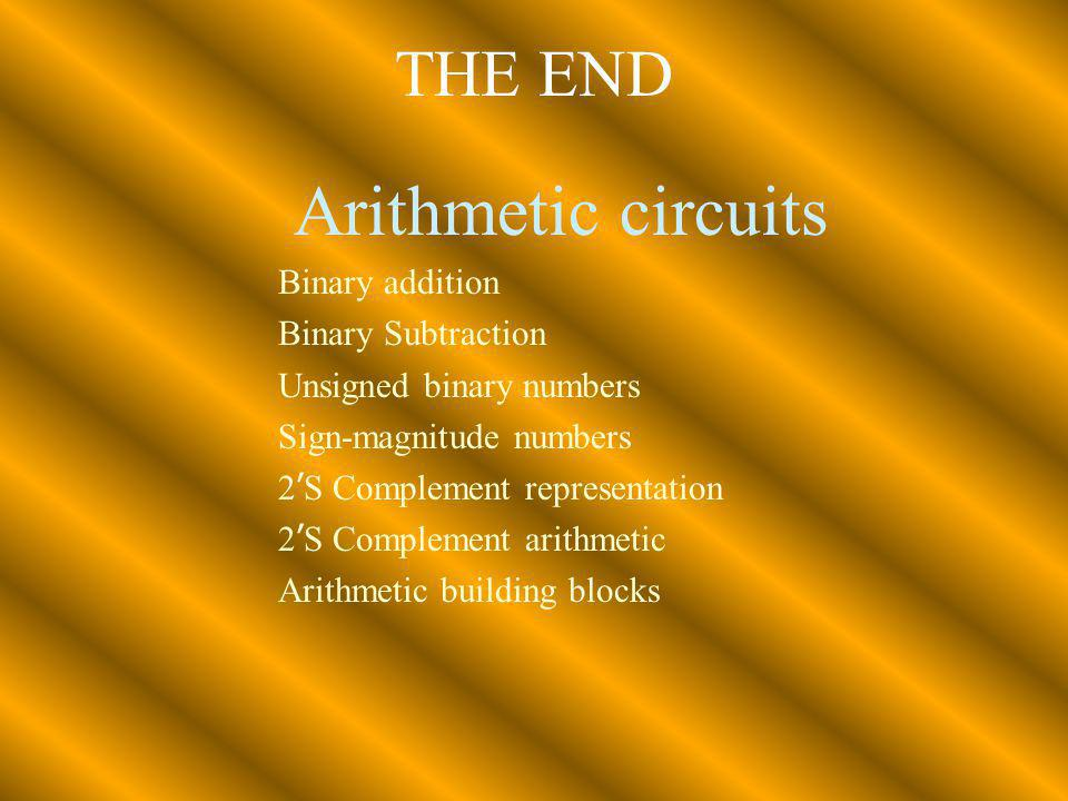 Arithmetic circuits THE END Binary addition Binary Subtraction