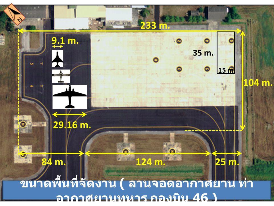 ขนาดพื้นที่จัดงาน ( ลานจอดอากาศยาน ท่าอากาศยานทหาร กองบิน 46 )