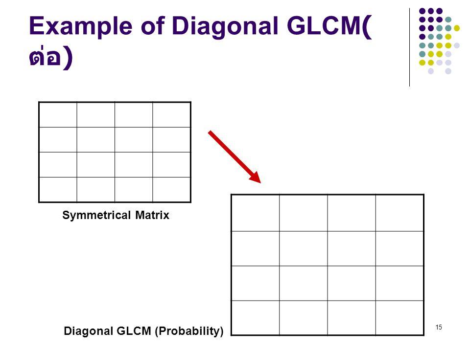 Example of Diagonal GLCM(ต่อ)