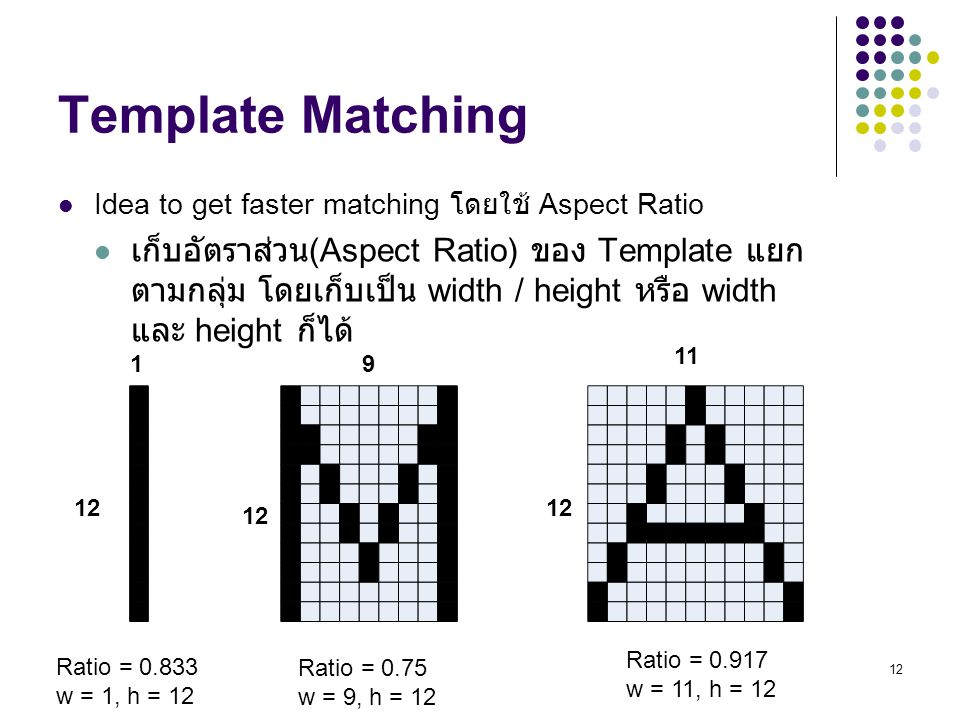 Template Matching Idea to get faster matching โดยใช้ Aspect Ratio.