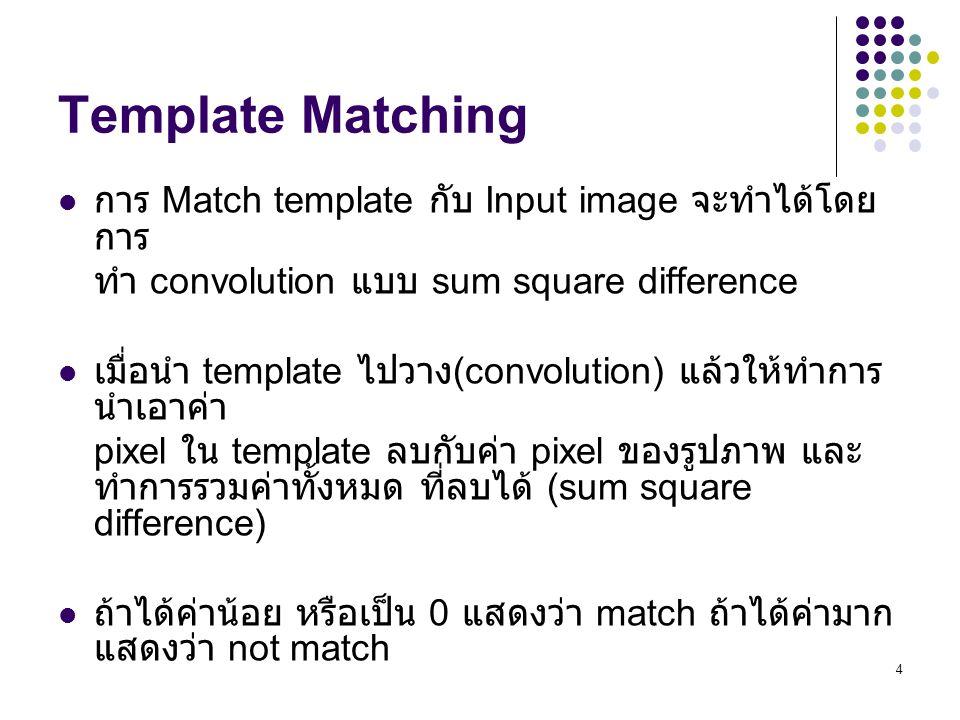Template Matching การ Match template กับ Input image จะทำได้โดยการ