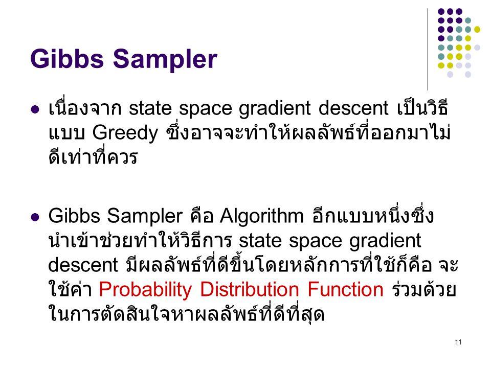 Gibbs Sampler เนื่องจาก state space gradient descent เป็นวิธีแบบ Greedy ซึ่งอาจจะทำให้ผลลัพธ์ที่ออกมาไม่ดีเท่าที่ควร.