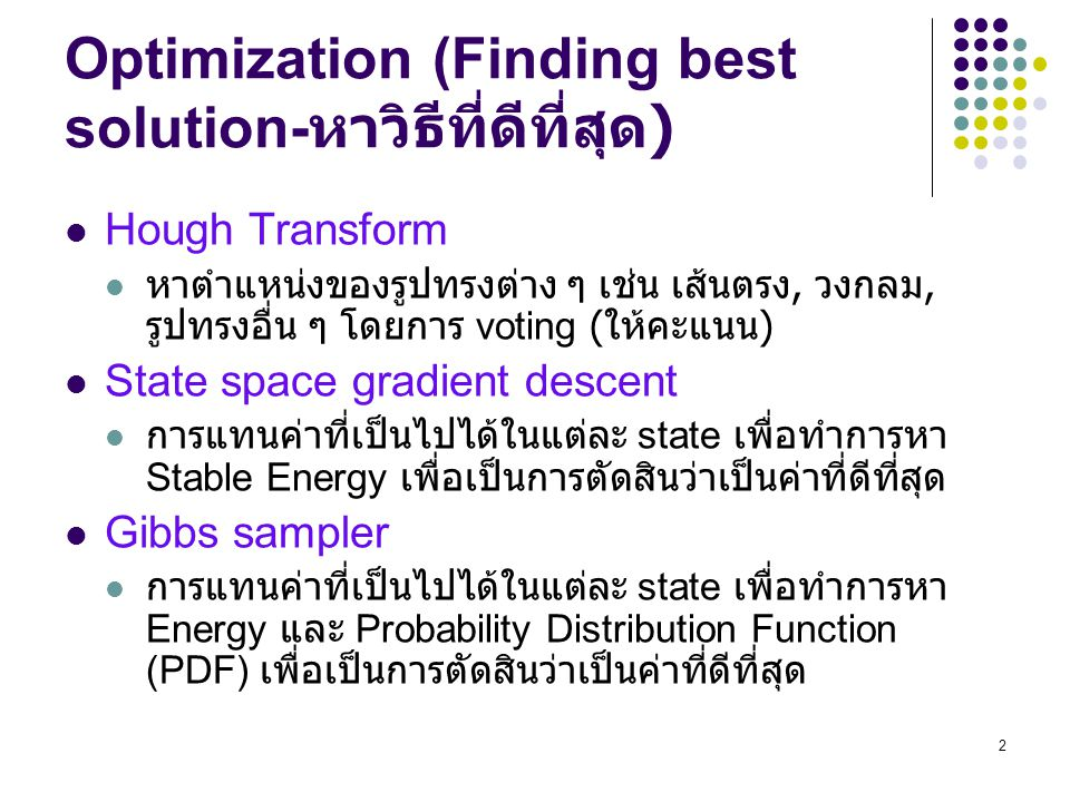 Optimization (Finding best solution-หาวิธีที่ดีที่สุด)