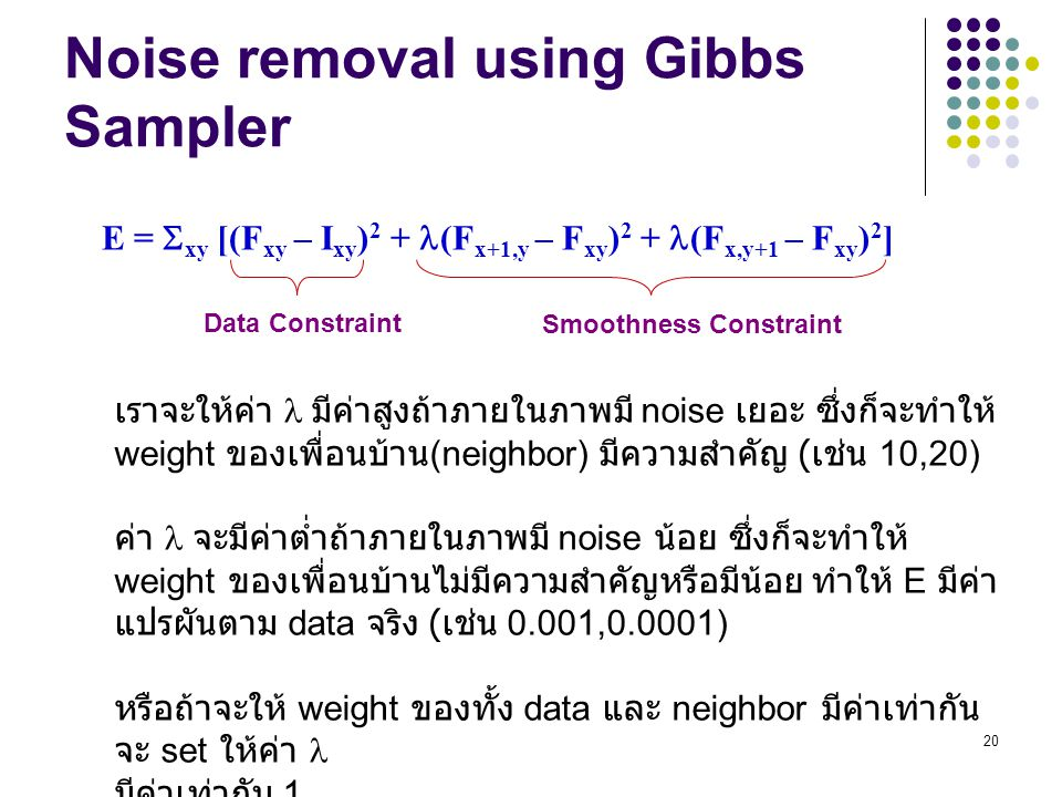Noise removal using Gibbs Sampler