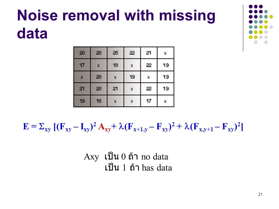 Noise removal with missing data