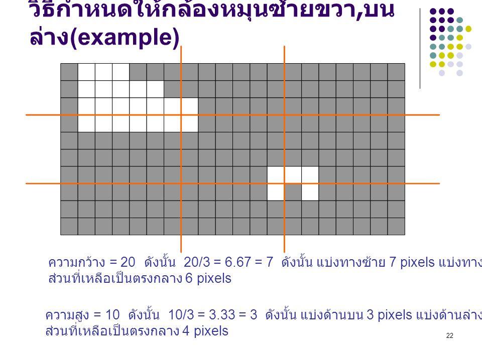 วิธีกำหนดให้กล้องหมุนซ้ายขวา,บนล่าง(example)