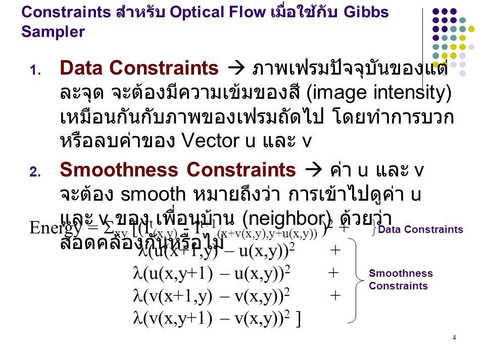 Constraints สำหรับ Optical Flow เมื่อใช้กับ Gibbs Sampler