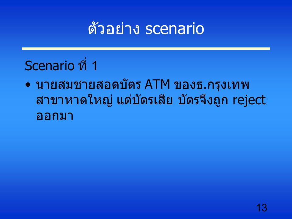 ตัวอย่าง scenario Scenario ที่ 1