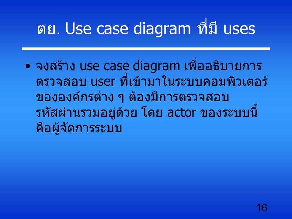 ตย. Use case diagram ที่มี uses