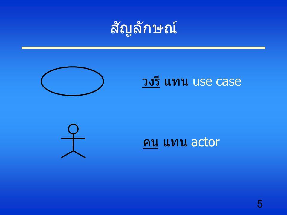 สัญลักษณ์ วงรี แทน use case คน แทน actor