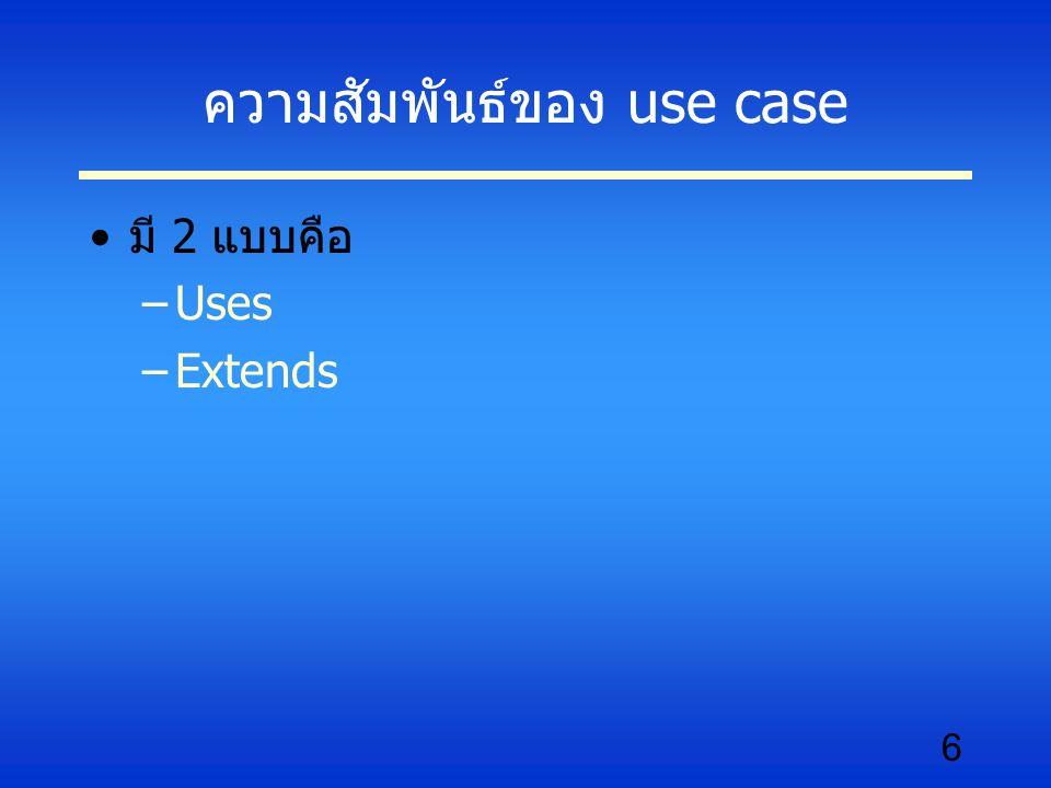 ความสัมพันธ์ของ use case