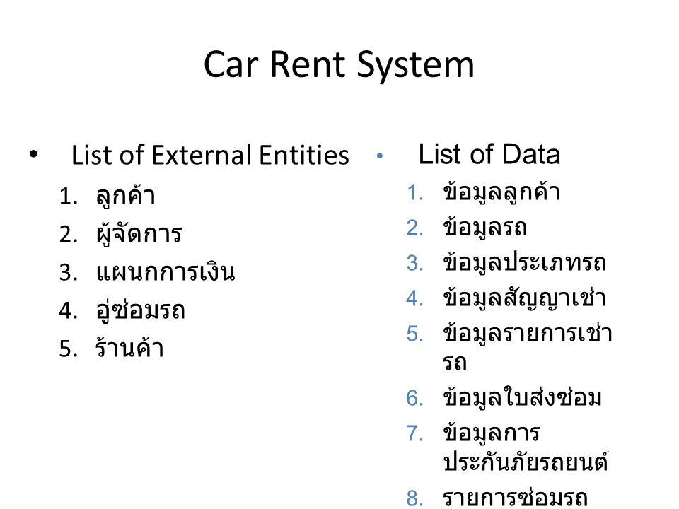 Car Rent System List of External Entities List of Data ลูกค้า