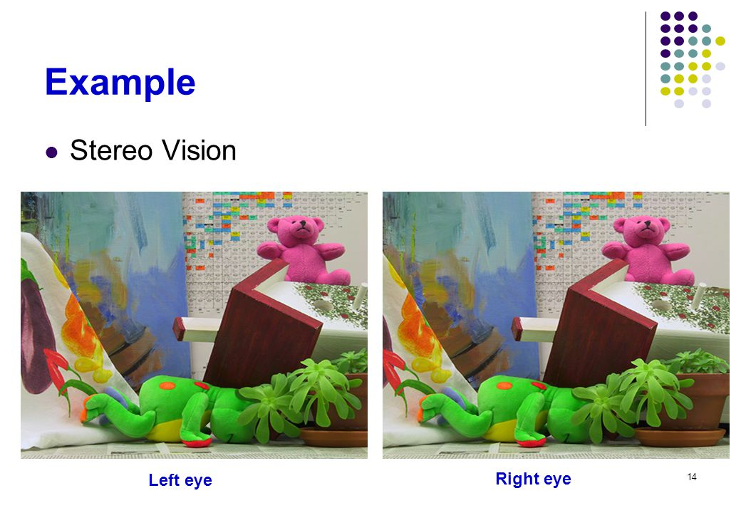 Example Stereo Vision Left eye Right eye