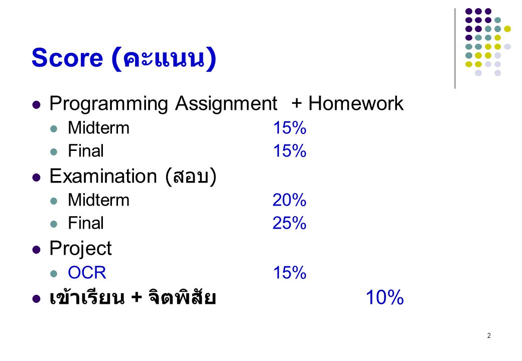 Score (คะแนน) Programming Assignment + Homework Examination (สอบ)