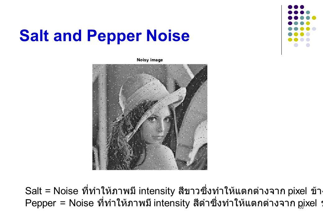 Salt and Pepper Noise Salt = Noise ที่ทำให้ภาพมี intensity สีขาวซึ่งทำให้แตกต่างจาก pixel ข้างเคียง.