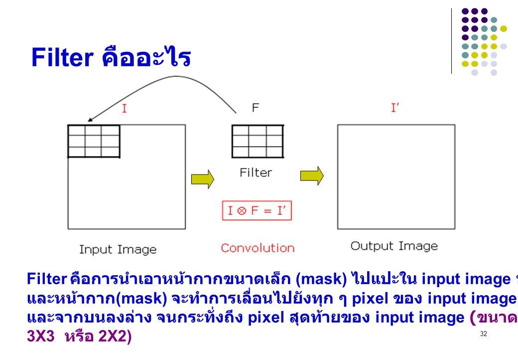 Filter คืออะไร Filter คือการนำเอาหน้ากากขนาดเล็ก (mask) ไปแปะใน input image ที่ต้องการประมวลผล.