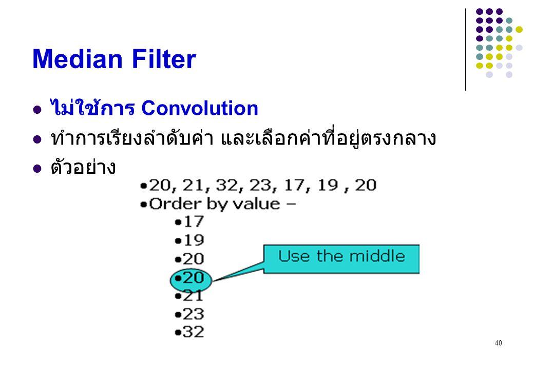 Median Filter ไม่ใช้การ Convolution