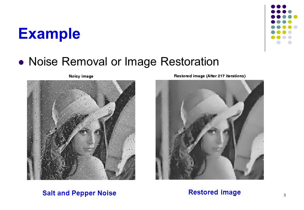 Example Noise Removal or Image Restoration Salt and Pepper Noise