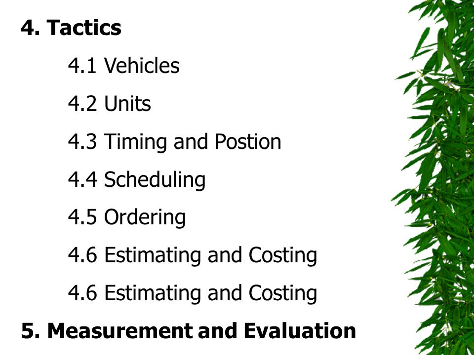 4. Tactics 4.1 Vehicles. 4.2 Units. 4.3 Timing and Postion. 4.4 Scheduling. 4.5 Ordering. 4.6 Estimating and Costing.