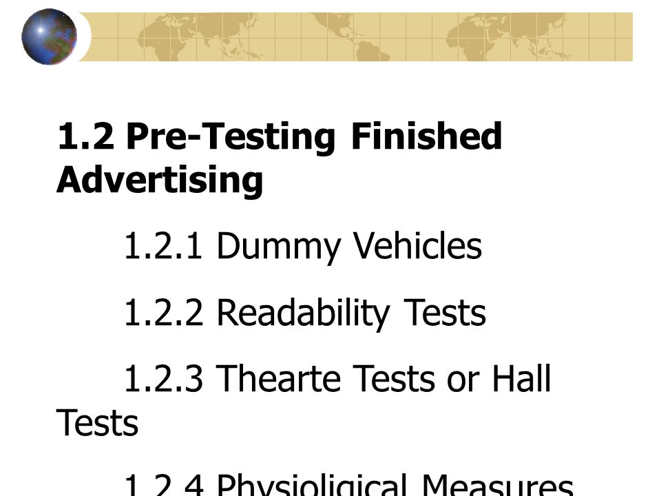 1.2 Pre-Testing Finished Advertising