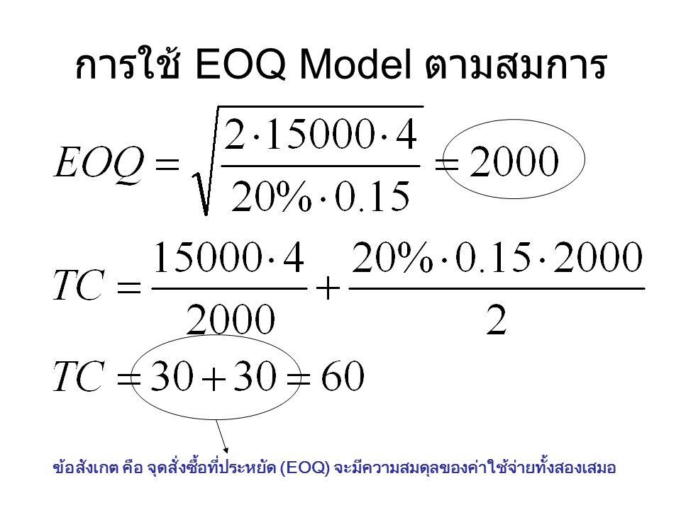 การใช้ EOQ Model ตามสมการ