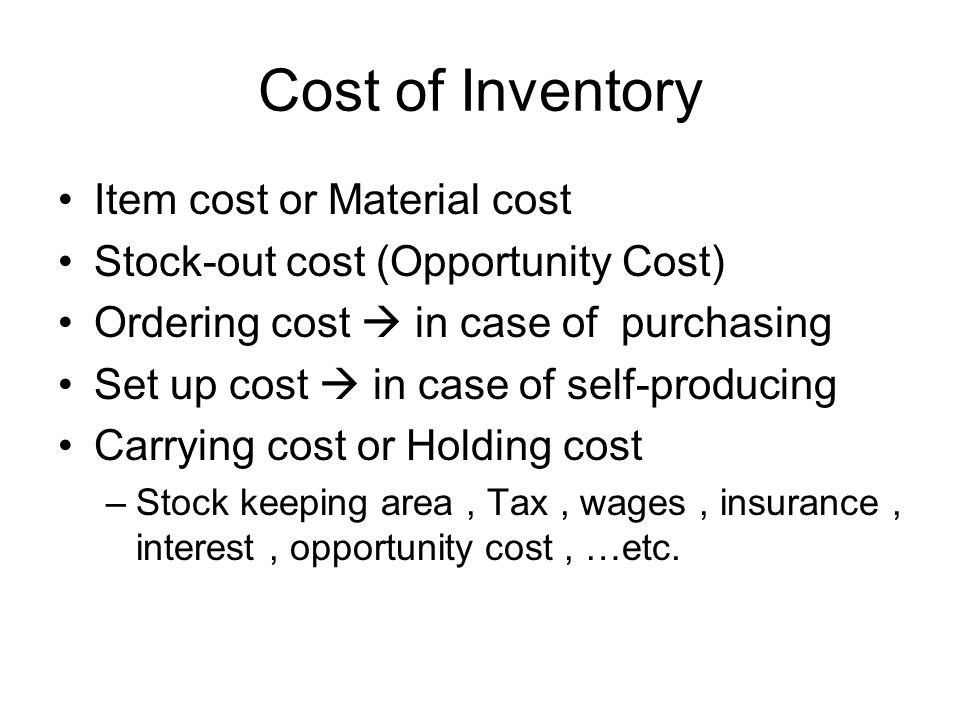 Cost of Inventory Item cost or Material cost