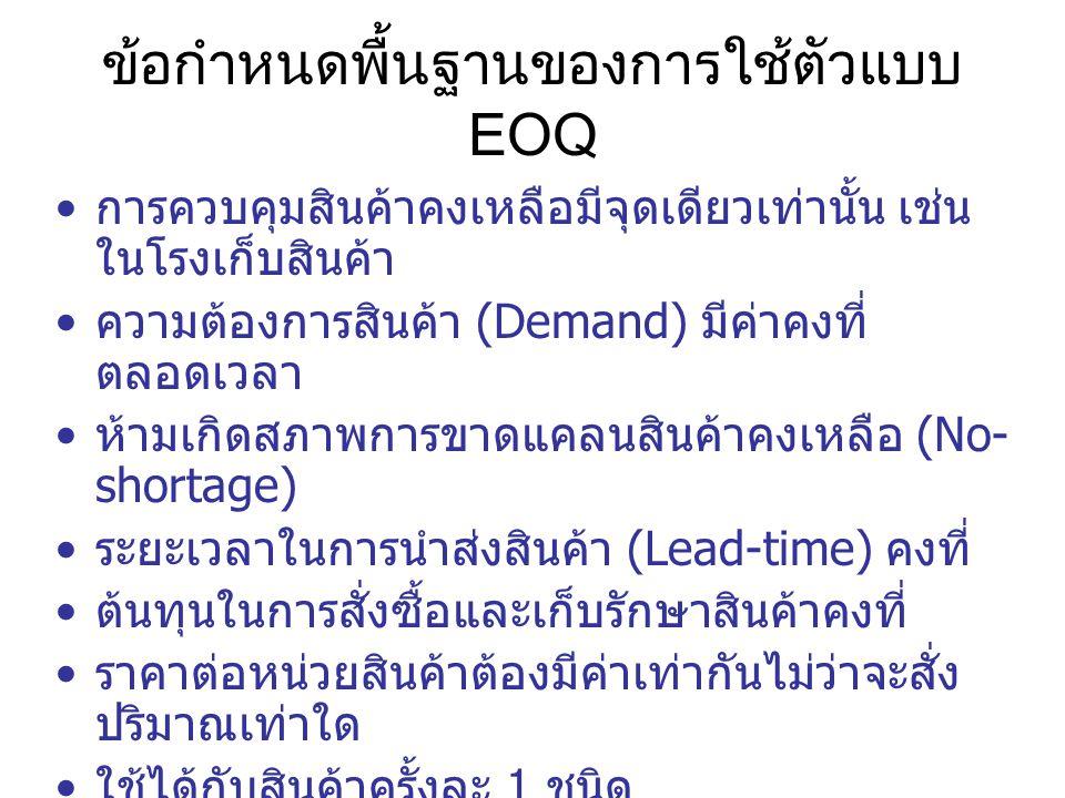 ข้อกำหนดพื้นฐานของการใช้ตัวแบบ EOQ
