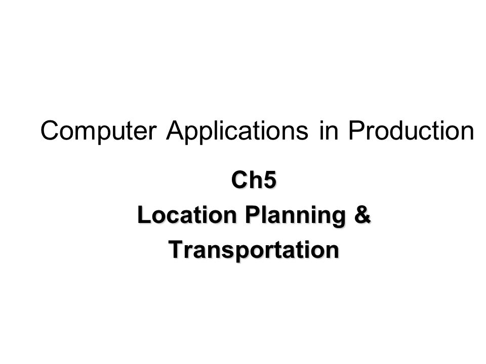 Computer Applications in Production