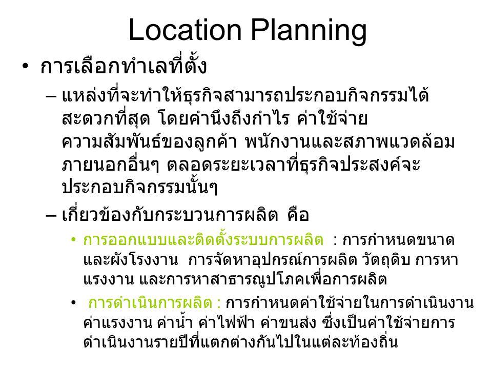 Location Planning การเลือกทำเลที่ตั้ง