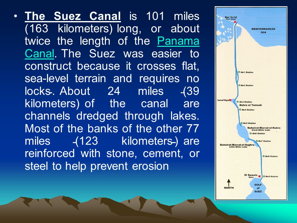 The Suez Canal is 101 miles (163 kilometers) long, or about twice the length of the Panama Canal.