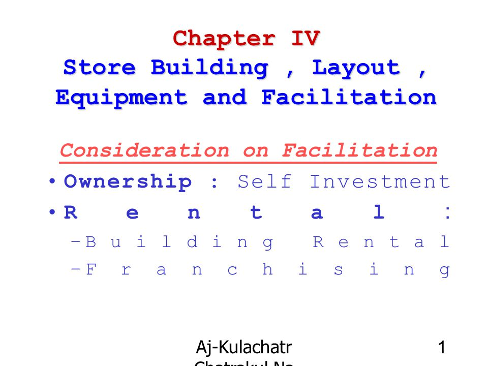 Chapter IV Store Building , Layout , Equipment and Facilitation