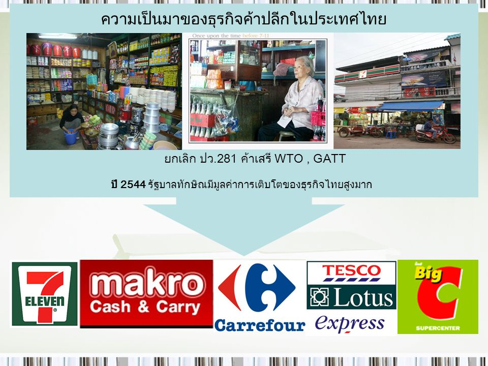 ความเป็นมาของธุรกิจค้าปลีกในประเทศไทย