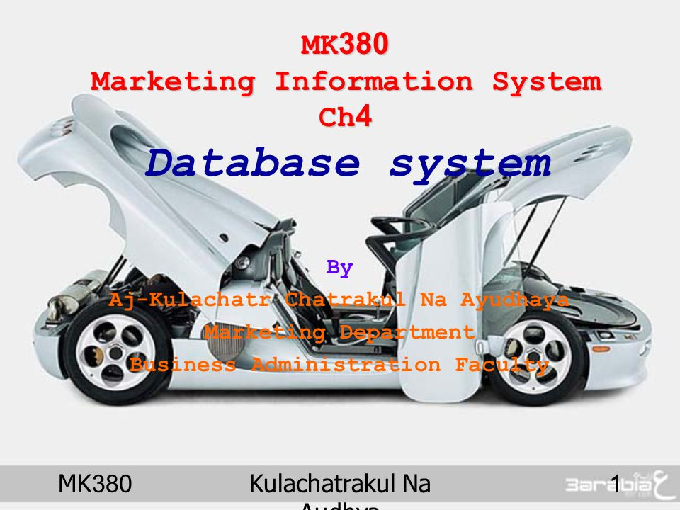 MK380 Marketing Information System Ch4 Database system