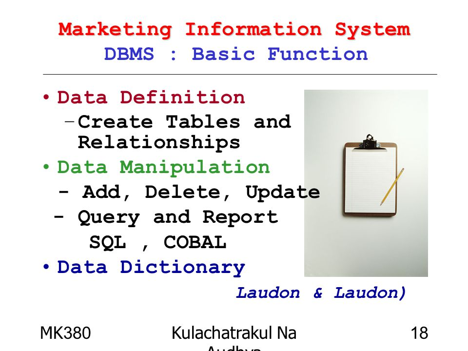 Marketing Information System DBMS : Basic Function