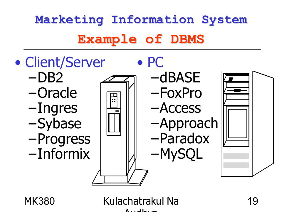 Marketing Information System Example of DBMS