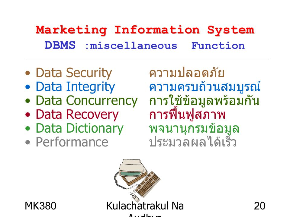 Marketing Information System DBMS :miscellaneous Function