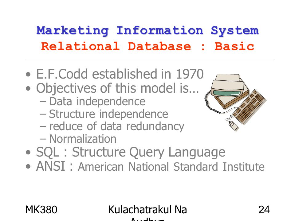 Marketing Information System Relational Database : Basic
