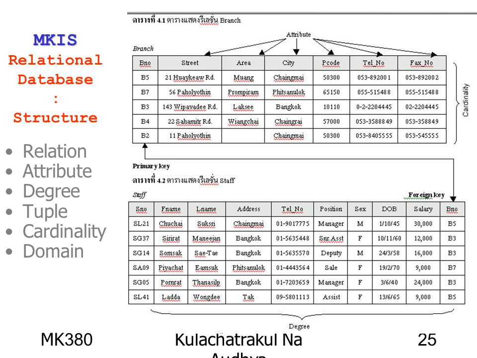 MKIS Relational Database : Structure