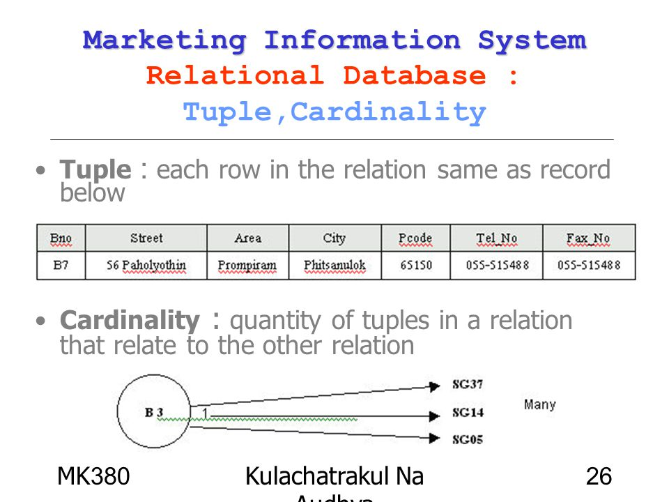 Marketing Information System Relational Database : Tuple,Cardinality