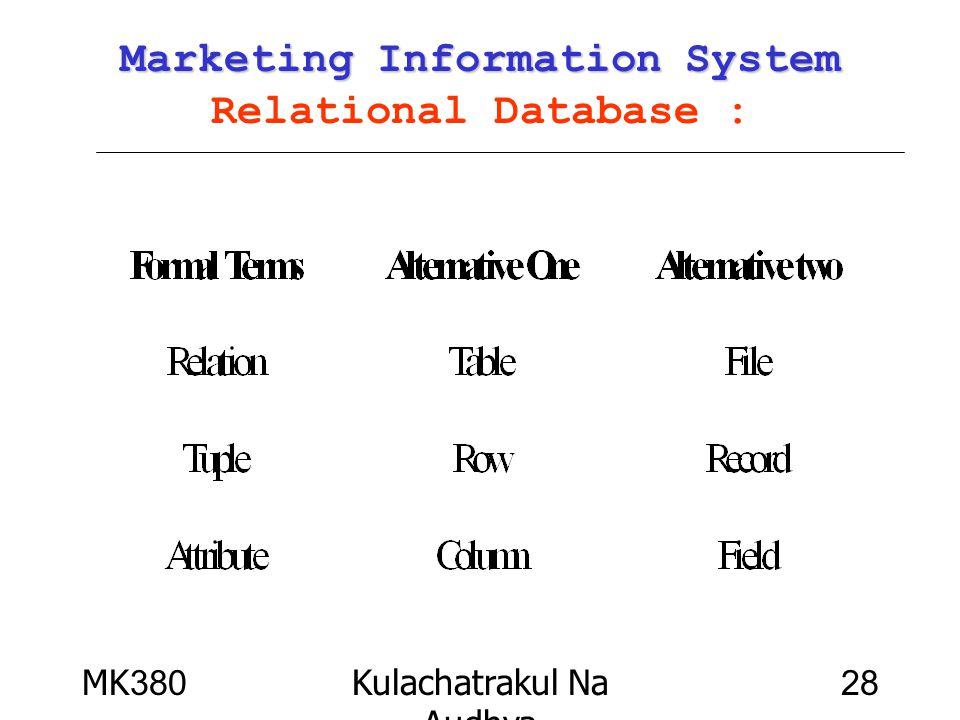 Marketing Information System Relational Database :