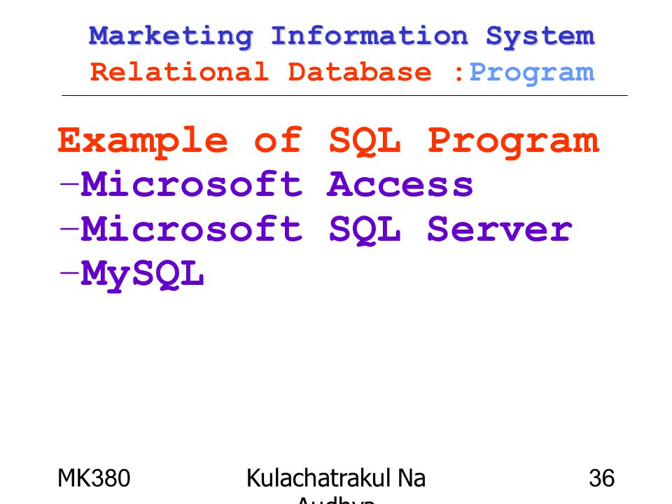 Marketing Information System Relational Database :Program