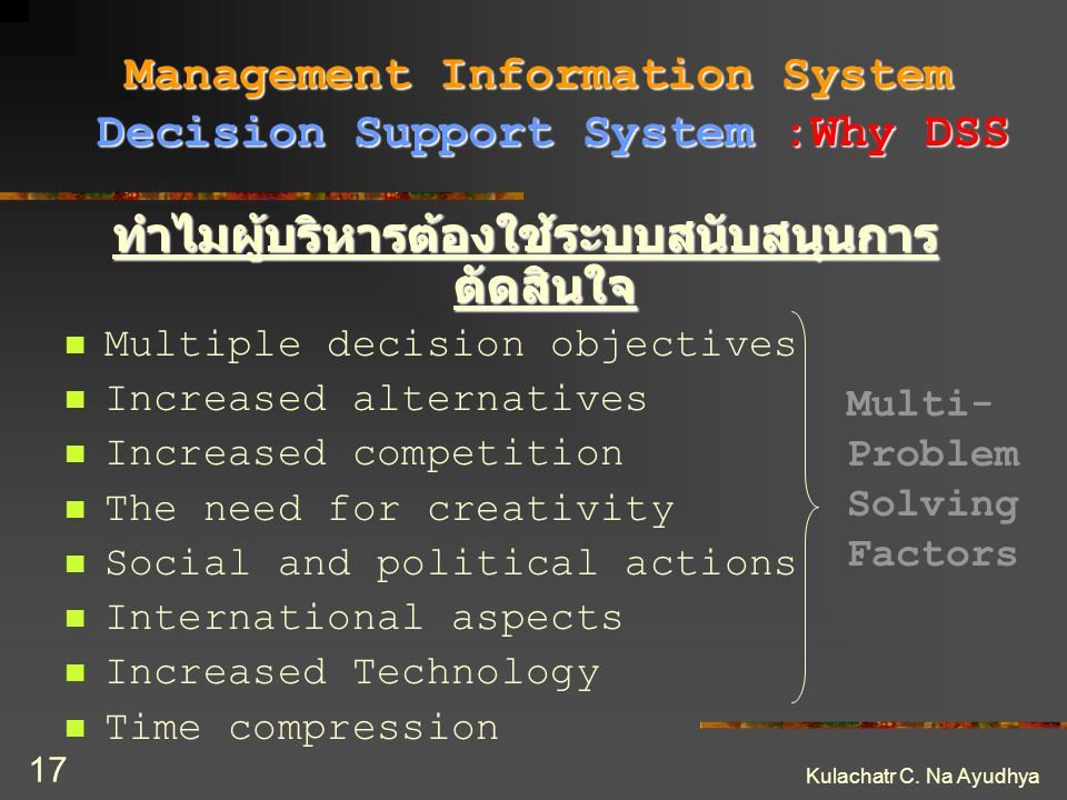 Management Information System Decision Support System :Why DSS