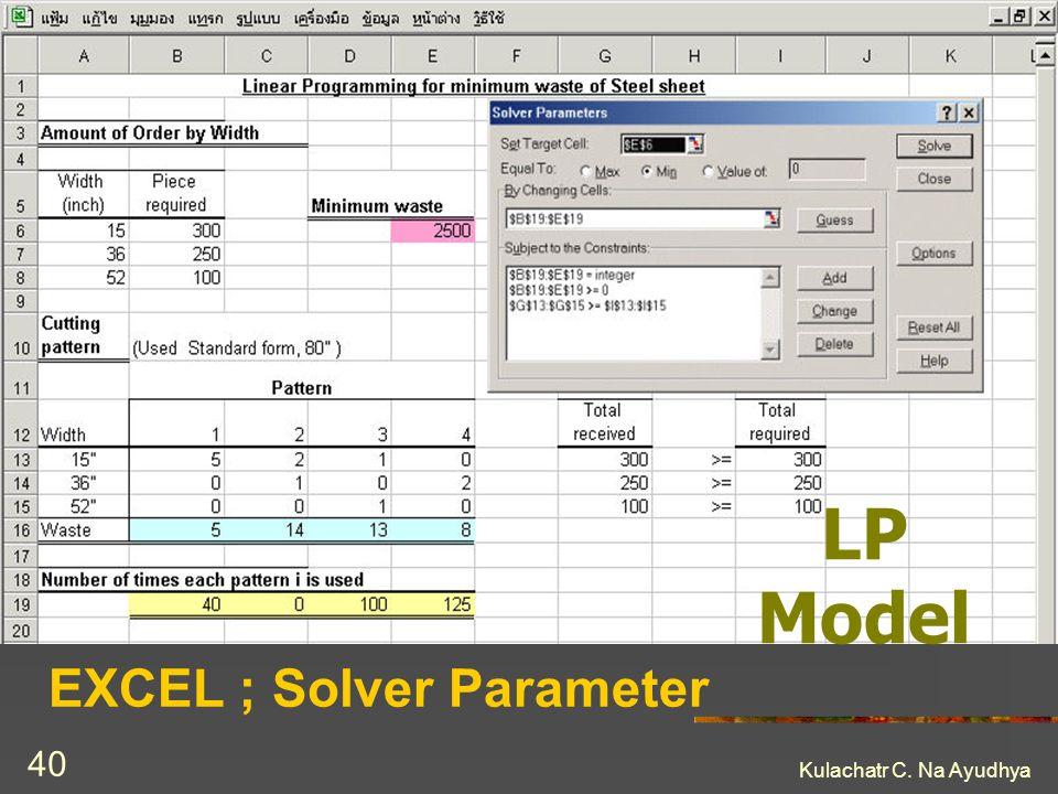 EXCEL ; Solver Parameter