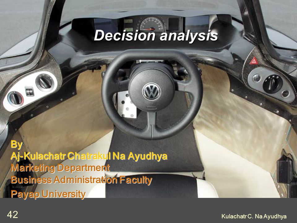 Decision analysis By Aj-Kulachatr Chatrakul Na Ayudhya Marketing Department Business Administration Faculty.