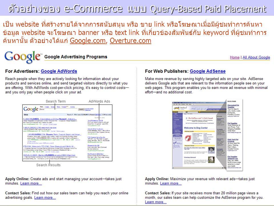 ตัวอย่างของ e-Commerce แบบ Query-Based Paid Placement