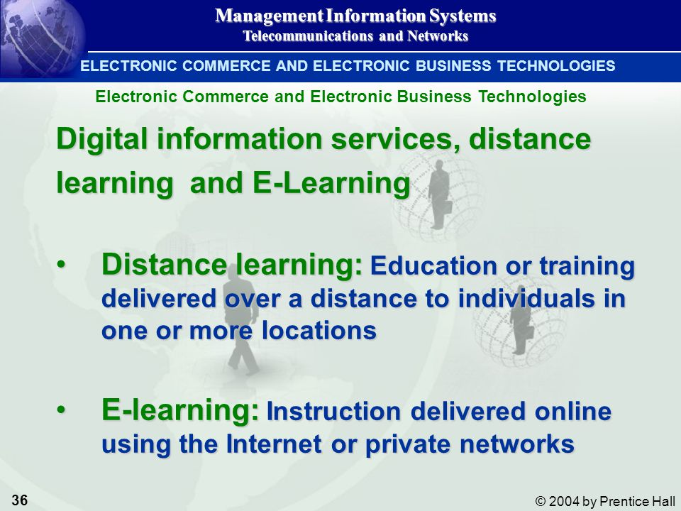 Digital information services, distance learning and E-Learning